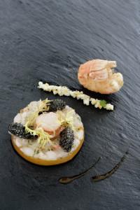 Croustillant vom Langostino mit Imperial Caviar