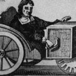Nürnberger Uhrmacher Stephan Farfler im hadbetriebenen Rollstuhl